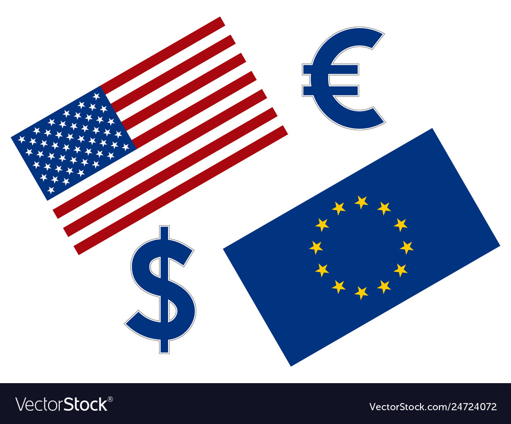 EURUSD forex currency pair illustration. EU and American flag, w